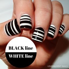 Black line, white line - Go to www.lemonnmintnails.weebly.com