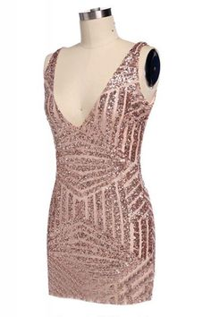 Sequins Decorated Deep V-neck Sleeveless Bodycon Party Dress