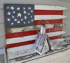 Flag made from vintage white picket fence.