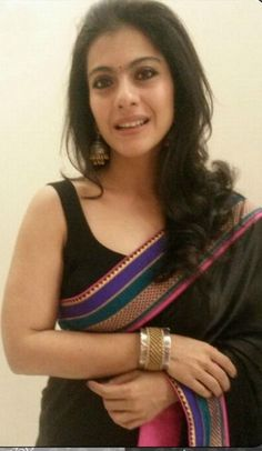 Kajol in Black Designer Saree