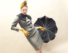 Strike a pose...  50s Suit   Saks Fifth Avenue Grey Tweed with by TwilaJeanVintage.  Gray Retro.
