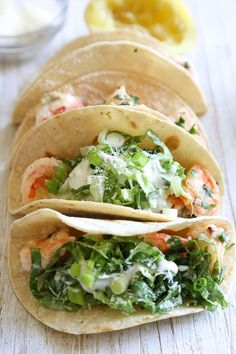 Healthy Shrimp Scampi Taco with Caesar Salad Slaw. Here's a unique twist on a shrimp taco – shrimp sauteed with butter and lemon juice topped with Caesar salad slaw, so fresh and light! Slaw Recipes, Healthy Recipes, Skinny Recipes, Fish Recipes, Seafood Recipes, Mexican Food Recipes, Cooking Recipes, Spinach Recipes, Cooking Food