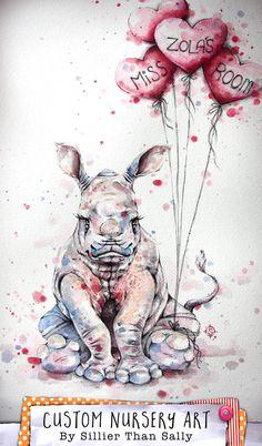 Cute Baby Rino (Rhinoceros) Custom Nursery Art by Sillier Than Sally. Original Watercolor Art.