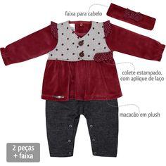 Macacão Bebê Menina Festa com Colete e Faixa Vinho - Sonho Mágico :: 764 Kids | Roupa bebê e infantil