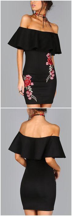 Black Off Shoulder Embroidered Tiered Dress US$17.95