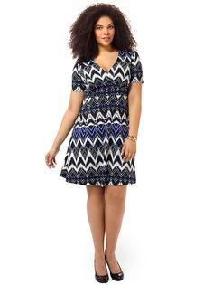 Size 2x $36 shipped Work The Angle Dress In Geometric Chevron Print