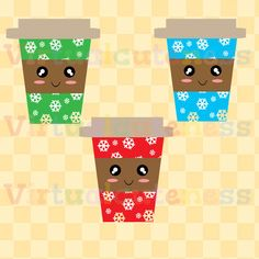 Christmas Coffee Clip Art - Xmas Clipart, Hot Chocolate Cup, Cute Christmas, Happy Coffee Cups, Snowflakes, starbucks, Free Commercial and Personal Use