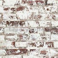 Vliesové tapety na zeď Virtual Vision cihla s bílou malbou - SLEVA