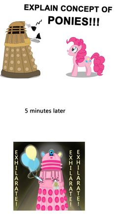 Dalek, Doctor who, Pinkie Pie, My little pony friendship is magic, mlp fim, exhilarate, funny, joke