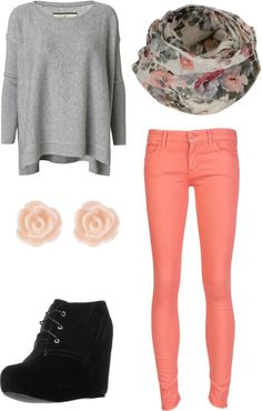 Feminine outfit with booties perfect for fall or spring featuring Ehlsa Pullover By Malene Birger, colorfulSkinny Jean,Even&Odd Wedge bootsand floral snood.