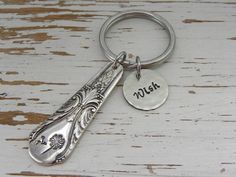 Spoon handle key chain - wish - dandelion and fluff - hand stamped - silver flatware - key ring - vintage rustic - re-purposed cutlery art Stamped Spoons, Hand Stamped, Stamped Jewelry, Handmade Jewelry, Jewelry Stamping, Fork Jewelry, Metal Jewelry, Jewellery, Bullet Jewelry