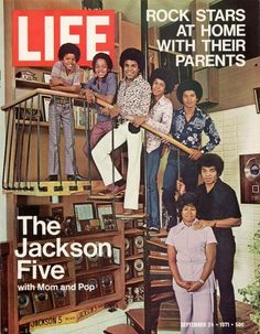"""The Jackson 5 pose with their parents, Encino, Calif. in 1970. Unlike the other stars featured in LIFE's story, the Jackson brothers — Michael, Marlon, Tito, Jermaine, and Jackie — experienced fame as kids, and still lived with their parents (father/manager Joe and mother Katherine). At the time of LIFE's shoot, they were the hottest act in pop, skyrocketing in 1970 with """"ABC"""" and """"I'll Be There,"""" and had just moved into an expansive new house"""