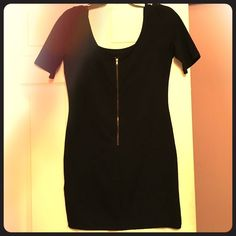 Black, quarter length sleeved mini dress Gold zipper back makes for a great backside OR front! You choose! Flattering, comfortable and guaranteed to be a hit! Forever 21 Dresses Mini