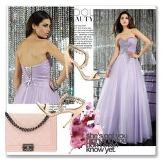 Prom Dress With Beaded by johnnymuller on Polyvore featuring Aquazzura and Chanel