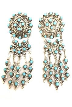 Native American Sterling Silver Zuni Handmade Natural Turquoise Dangle Earrings 656062544060 | eBay