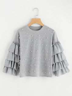 SheIn offers Tiered Fluted Sleeve Pearl Beaded Sweatshirt & more to fit your fashionable needs. Girls Fashion Clothes, Modest Fashion, Skirt Fashion, Hijab Fashion, Fashion Dresses, Dresses Kids Girl, Girl Outfits, Mode Kawaii, Jugend Mode Outfits