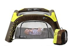 Gocrib Portable Baby Travel Crib and Play Yard~ For infants under 6 months of age consider bringing a portable beach crib with sunshade. This model provides sun protection and good ventilation to keep baby cool.