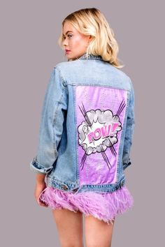 """Denim jacket """"POW VIOLET"""" of gently blue color. Hand painted with shining and pearl dyes in Pop Art style, decorated with detachable ostrich feathers high quality of violet colour and rhinestones. Dope Fashion, Fashion Brand, Demin Jacket, Painted Denim Jacket, Denim Outfit, Casual Street Style, Pretty Outfits, Diy Clothes, Hand Painted"""