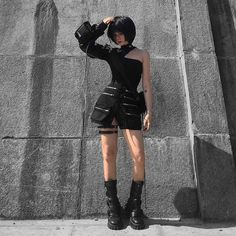 Kpop Fashion Outfits, Edgy Outfits, Grunge Outfits, Cool Outfits, Fashion Tips, Mode Cyberpunk, Cyberpunk Fashion, Aesthetic Fashion, Aesthetic Clothes