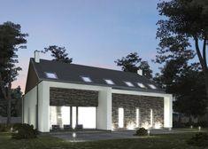 Domo 08 B - Oryginalną i wyrafinowaną bryłę domu urozmaica dobór ciekawych materiałów. Elewacje parteru budynku, gdzie front i tył przekrywają ażurowe podcienie, wykończono łupkiem elewacyjnym oraz tynkiem cienkowarstwowym. Poddasze natomiast, przekryte dwuspadowym tradycyjnym dachem, wykończone jest ceramiką i sidingiem drewnianym. #domowy #domowypl #nowoczesny #nowoczesnastodola #domstodola #zgarazem #dlamlodych #nowydom #ladnydom #domnalata