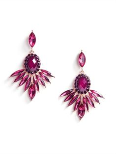 If you'd like to start your outfit with a bang, give these gorgeous fuchsia drops a spin, crafted from rich pink marquise gems and bold garnet colored accent stones.