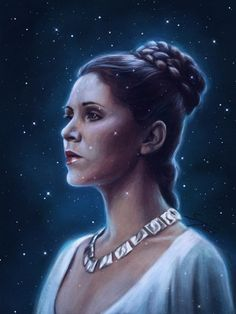 Art by Svenja- In memory of Carrie Fisher. Thank you for being our badass space princess. May the Force be with you. Carrie Fisher, Leia Star Wars, Star Wars Princess Leia, Star Wars Personajes, Leila, Star Wars Images, Star Wars Fan Art, Star War 3, Love Stars