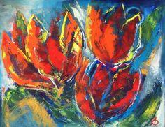 Tulpen Acryl op doek met paletmes niet te koop / Not for sale Painted & pinned by Karin Beks. Longhorns, 3 D, Painting, Ideas, Tulips, Painting Art, Paintings, Painted Canvas, Thoughts