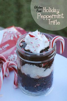 Gluten Free Peppermint Chocolate Trifle Cups {Freeze small portions so that you always have a Gluten Free treat to take to holiday parties} Christmas Dessert from OneCreativeMommy.com