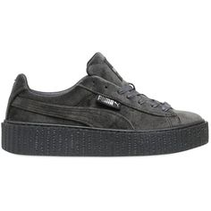 Puma Select Women Rihanna Velvet Creepers (€155) ❤ liked on Polyvore featuring shoes, grey, puma shoes, rubber sole shoes, creeper shoes, puma footwear and velvet shoes