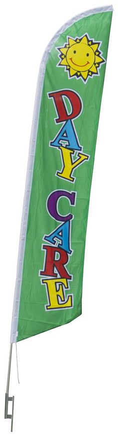 **New Product** Available this week: 14' Feather Flag & Ground Spike with Pre-Printed DAYCARE Message - Green
