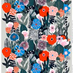 Marimekko's Kasvu fabric features a beautiful array of botanical motifs. The pattern, drawn by Maija Louekari, resembles a wild flower meadow and charms with its detailed stems, leaves and blossoms. Textile Patterns, Textile Prints, Textile Design, Flower Patterns, Fabric Design, Print Patterns, Print Design, Print Print, Pattern Fabric