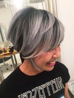 Pretty gray - CHROME. Color correction from prelightened gold hair. Thanks, Raiza, for pushing me out of my blonde comfort zone yet again  Lift: #Redken Blonde Icing+20vol+ #Olaplex || Gloss: Shades EQ 09V+Clear first to neutralize canvas, then 3/4 09T+1/4 09B+Clear || Root: Diarichesse 3N, while rinsing, let color glaze over lengths to smoke it out even more.