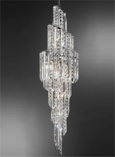 Italian Crystal Cascading Pendant 1600mm....great for Atriums and stairwells.