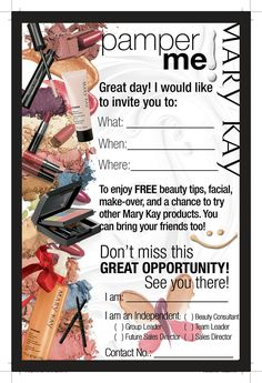 Mary kay open house flyer template google search for Mary kay invite templates