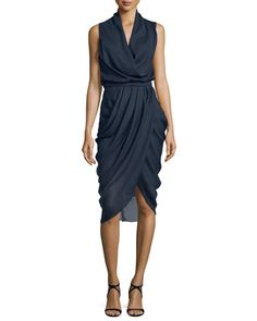 Draped+Sleeveless+Cocktail+Dress,+Ink+by+Camilla+&+Marc+at+Neiman+Marcus.