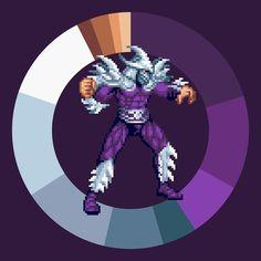 Shredder . TMNT: Turtles in Time . Konami . 1991 . #game #colorwheel #color #palette #colorscheme #pixelart #TMNT #konami #arcade #snes #characterdesign #retrogames #gamedesign #digitaldesign #graphicdesign #webdesign #Shredder