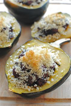 Chicken and Black Rice-Stuffed Acorn Squash / Bev Cooks