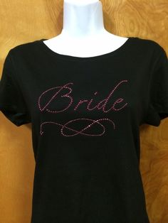 Rhinestone Bling Bride Pink Wedding Shirt S M L XL XXL Custom NWT #Bella #EmbellishedTee