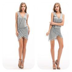 Boho Beach Dress  Summer Boho Beach Sleeveless Aysmmetrical Tassel Party Dress .Price Firm Dresses Midi