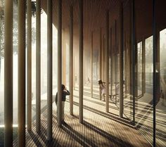 Hide and Seek. Image by of the magic forest of columns of the New Norsk Skogfinsk Museum in Norway by - Architecture and Home Decor - Bedroom - Bathroom - Kitchen And Living Room Interior Design Decorating Ideas - Arcade Architecture, Space Architecture, Architecture Student, Architecture Drawings, Norway Forest, Visualisation, Rustic Lighting, Beautiful Buildings, Black Box