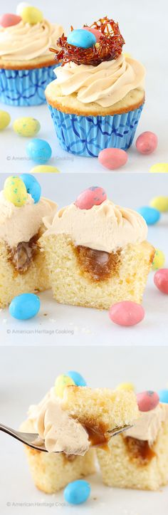 These Double Salted Caramel Cupcakes have a moist vanilla cake, salted caramel filling and a delicious caramel buttercream!