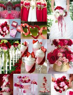 Some pretty nice ideas :) Inspiration Board for pink and red wedding