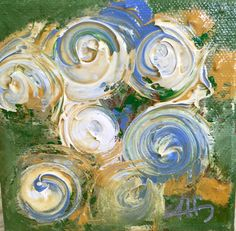 Original Art ~ Abstract blue and cream swirl