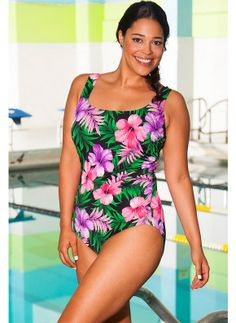 Created with Aquabelle's exclusive Aquapreen polyester spandex blend. Aquapreen fabric is chlorine resistant, retains color and shape, and provides high UV protection. Aquaslim power mesh tummy control smooths and flattens while providing core support #spandex #coupons #swimwear