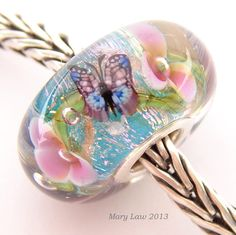 Butterfly Dream Garden Glaslight Artisan Lampwork Glass Murano Dichroic Sparkle Bead SRA via Etsy