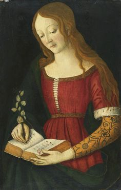 A Young Lady Writing in a Hymnal. Giacomo Pacchiarotto (Italian, 1474-1539/40 ?). Oil on panel.  This charming panel is a youthful work by Giacomo Pacchiarotto when he was working in Bernardo Pintoricchio's studio in Rome. The present panel is dateable to this period and blends Pacchiarotto's native Sienese style with Pintoricchio's Umbrian idiom.