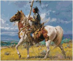 Cross Stitch Pattern NATIVE AMERICAN Warrior  Pdf File Only