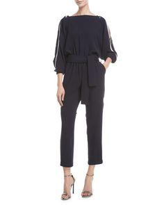 37ff0d33a6a61e Carole Shoulder-Zip Straight-Leg Jumpsuit by Carolina Ritzler at Neiman  Marcus Reißverschluss,