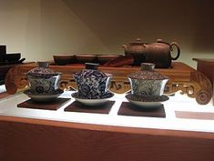 A gaiwan is a Chinese lidded bowl used for the infusion of tea leaves and the consumption of tea.[2] It was invented during the Ming dynasty.[2] It consists of a bowl, a lid, and a saucer.