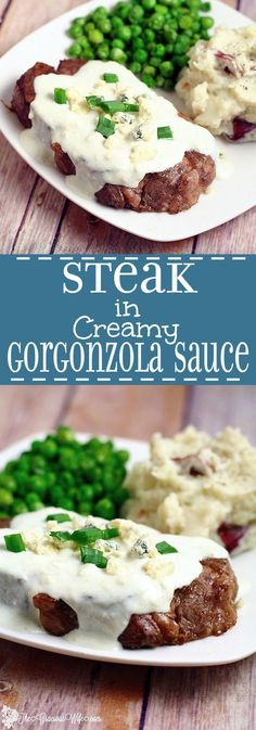 Steak with Creamy Gorgonzola Sauce Recipe- Buttered, seasoned steak smothered in a rich creamy Gorgonzola Sauce. Perfect for a date night in! Or really anytime you're cooking steaks because seriously, the gorgonzola sauce is amazing!